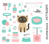 cute siamese cat in flat design ... | Shutterstock .eps vector #457782895