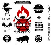 bbq party logos and labels.... | Shutterstock . vector #457790224
