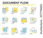 document flow icons  thin line  ... | Shutterstock .eps vector #457798681