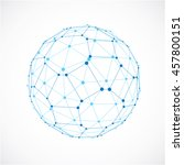 3d digital wireframe spherical... | Shutterstock . vector #457800151