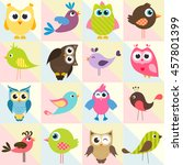 background with funny birds and ... | Shutterstock .eps vector #457801399