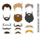 mustache  beard and haircut set.... | Shutterstock .eps vector #457801489