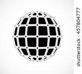 3d digital wireframe spherical... | Shutterstock . vector #457804777