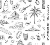 hawaii collection of vector... | Shutterstock .eps vector #457806199