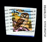 Small photo of UNITED STATES OF AMERICA - CIRCA 1988: A stamp printed in the USA shows Northern Saw-whet Owl Aegolius acadicus, circa 1988