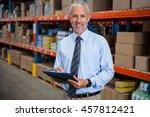 worker holding clibpoard in a...   Shutterstock . vector #457812421
