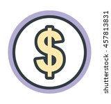 dollar coin colored vector icon