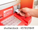 Small photo of ATM machines are plugged accumulated cash.