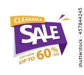 clearance sale purple yellow 60 ... | Shutterstock .eps vector #457844245