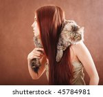 young pretty girl holding a ct | Shutterstock . vector #45784981