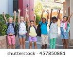 group of happy kids standing in ... | Shutterstock . vector #457850881
