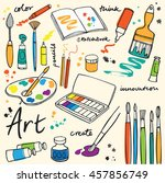 colorful art supplies icons | Shutterstock .eps vector #457856749