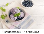 blueberry ice cream on wooden... | Shutterstock . vector #457860865