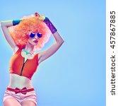 fashion portrait hipster model... | Shutterstock . vector #457867885
