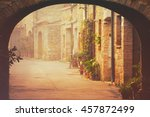 narrow street of medieval san... | Shutterstock . vector #457872499