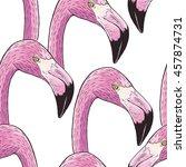 pink flamingo bird pattern | Shutterstock .eps vector #457874731