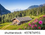 Wooden Mountain Hut In The Alp...