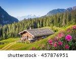 Wooden Mountain Hut In The Alp...