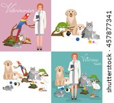 Stock vector group of pets and veterinary doctor with animals patient 457877341