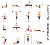 fitness cardio exercise and...   Shutterstock .eps vector #457885441