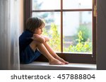 sad child  boy  sitting on a... | Shutterstock . vector #457888804
