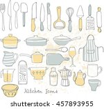 kitchen utensils doodle vector... | Shutterstock .eps vector #457893955