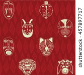 red seamless pattern with masks  | Shutterstock .eps vector #457897717