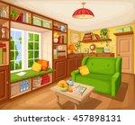 vector cozy living room... | Shutterstock .eps vector #457898131