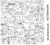 Hand drawn houses black and white vector illustration. card, poster, background Drawing  Doodle .