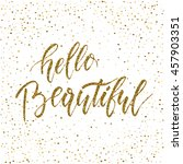 hello beautiful   freehand ink... | Shutterstock .eps vector #457903351