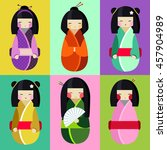 Vector Set Of Kokeshi Dolls In...