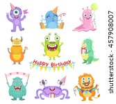 friendly monsters with birthday ... | Shutterstock .eps vector #457908007