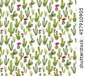 watercolor cactus seamless...   Shutterstock . vector #457910905