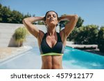 outdoor shot of fit young woman ... | Shutterstock . vector #457912177