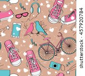 cute teenager girls pattern... | Shutterstock .eps vector #457920784