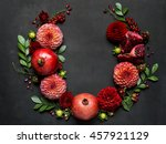 red pomegranates and dahlias... | Shutterstock . vector #457921129