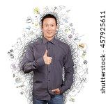 asian man have got an idea  and ... | Shutterstock . vector #457925611