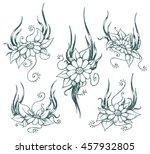 vector hand drawn chamomile... | Shutterstock .eps vector #457932805