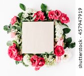 flat lay frame with craft box ... | Shutterstock . vector #457947919