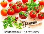 ketchup. tomato sauce salsa ... | Shutterstock . vector #457948099