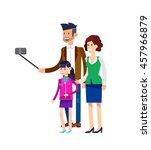 selfie shot man make selfie... | Shutterstock .eps vector #457966879