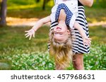 young mom and cheerful adorable ...   Shutterstock . vector #457968631