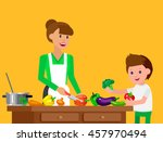 cute vector character child and ... | Shutterstock .eps vector #457970494