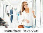 beautiful young woman in metro | Shutterstock . vector #457977931