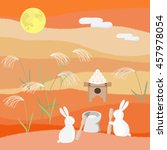 rabbits viewing the moon. | Shutterstock .eps vector #457978054