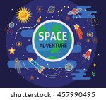 collection of spaceship ... | Shutterstock .eps vector #457990495