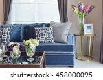 navy blue modern classic sofa... | Shutterstock . vector #458000095