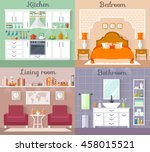 set of vector interiors with... | Shutterstock .eps vector #458015521