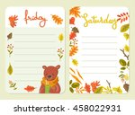 set of autumn cards for week... | Shutterstock .eps vector #458022931