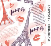 paris. vintage seamless pattern ... | Shutterstock .eps vector #458023579